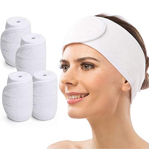 Spa Fascia, CNNIK 4 Pezzi Fascia per Capelli di Trucco, Fascia per Capelli Elasticizzata Regolabile con Velcro per Yoga Sport Bagno Trucco Cura del Viso Asciugamano (Bianco)