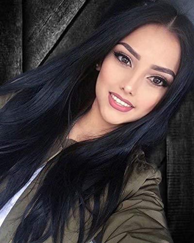Parrucca di capelli lunghi e lisci in fibra sintetica, da donna, dall'aspetto naturale e di alta qualità, per feste e serate eleganti, colore: nero