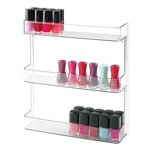 mDesign porta smalti a muro – espositore smalti e prodotti per unghie elegante per il bagno con 3 ripiani – Colore: trasparente