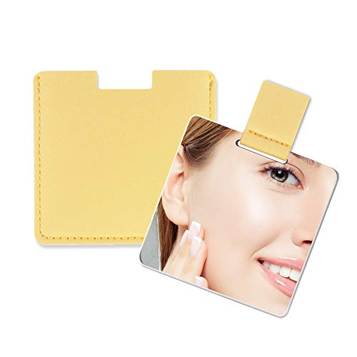 Specchio Piccolo Ultrasottile, in Acciaio Inossidabile Infrangibile, Con Custodia in Pelle PU, Facile da Trasportare. Può Essere Usato Come Specchio Trucco, Specchio Tascabile , Specchio Portatile.