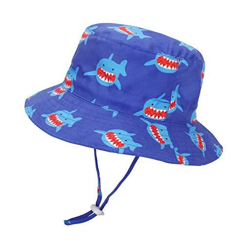 LACOFIA Cappello da Sole per Bambino Cappellino Estivo da 50 + UPF Protezione Solare Neonato Berretto da Spiaggia a Tesa Larga con Cinturino sottogola Regolabile squalo Blu 6-12 Mesi