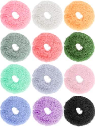 GeekerChip Scrunchies Elastico[12 Pezzi],Capelli Scrunchies con 12 Colori per Porta Coda di cavallo di Donne e Ragazze