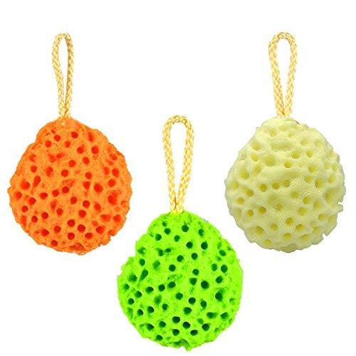 Set di 3 colori Spugne da bagno Spugna fibra naturale da bagno morbida per il corpo a nido d'ape Pulisci Spugne e lenitiva per bambini Donna Uomo Cura Bagno quotidiana Forniture
