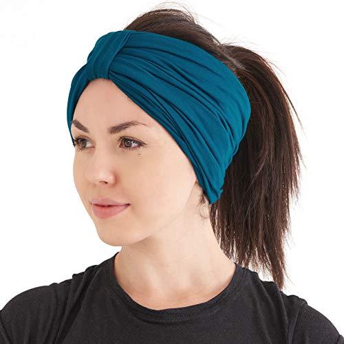 Fascia Turbante Moda Grosso Donna - Copricapo Invernale Cappello Chemio Capelli Naturali Blu Verde