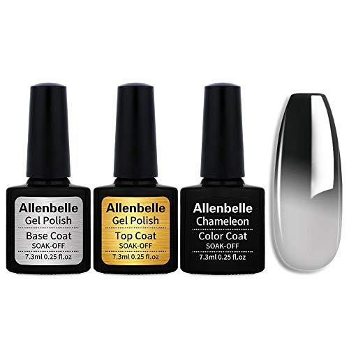 Allenbelle (Base Coat&Top coat+One Color) Smalto Semipermanente Camaleonte Nail Polish UV LED Gel Unghie (Kit di 3 pcs 7.3ML/pc) 072