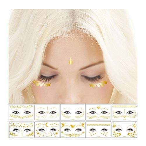 Xinlie Tatuaggio Temporaneo Lusso Metallico Tattoo Adesivi Tatuaggi Temporanei Adesivo per il viso Tatuaggio Impermeabile Metallico Oro Flash Tatuaggio per donne Adolescenti Ragazza Body Art(10 Fogli)