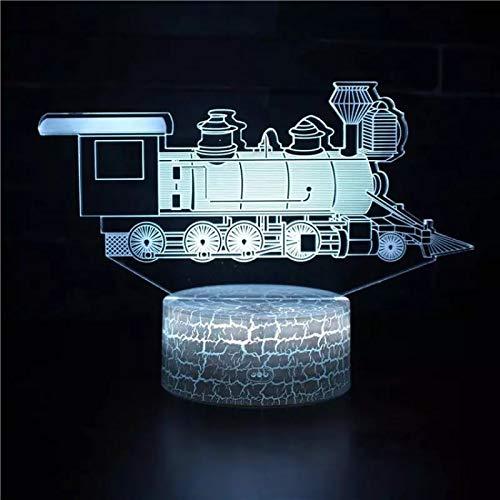 Vintage Train 3D Atmosphere Lamp Lampada da tavolo con interfaccia USB Lampada da tavolo multicolore con luce notturna 3D