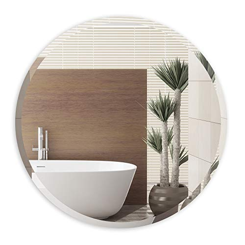 ANYHI specchio rotondo da parete per bagno corridoio soggiorno camera da letto (18-Inch, Senza cornice)
