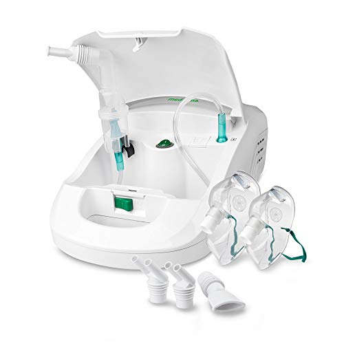 Medisana IN 550 Inalatore, Nebulizzatore ad Ultrasuoni con Boccaglio e Maschera per Adulti E Bambini, per Raffreddori o Asma con Accessori Extra, Tubo Lungo e Scomparto per Accessori