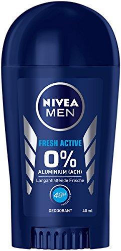 NIVEA Men Fresh Active Deo - Penna deodorante in confezione da 6 (6 x 40 ml), deodorante senza alluminio con formula rinfrescante, deodorante stick con protezione 48 ore che nutre la pelle.