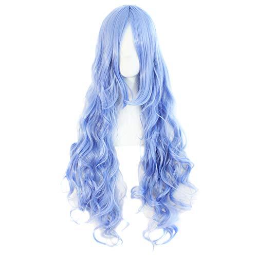 MapofBeauty 80cm/ 31 Pollice Lungo Ricci Donna Ricci Parrucche (Leggero Blu)