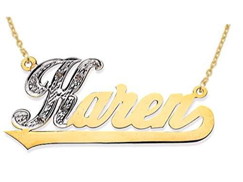 RYLOS Collane da donna in oro giallo o oro bianco 14 carati con diamanti da 0,05 carati e targhetta con nome brillante, collana su ordinazione speciale
