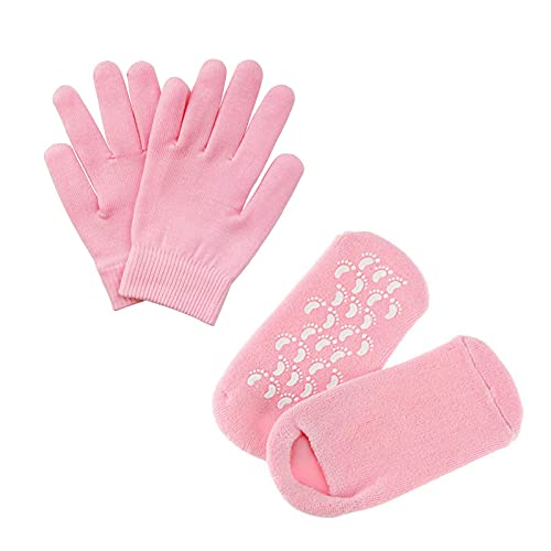 Pinkiou Ammorbidire SPA Gel Idratante guanti e calzini per idratare la cura della pelle cracking (rosa)
