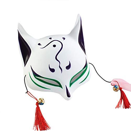 keland Maschera di Volpe per Adulti Maschera per Il Viso Bambino Giapponese Kabuki Masquerade Costume Maschera Halloween Gioco di Ruolo (Verde)