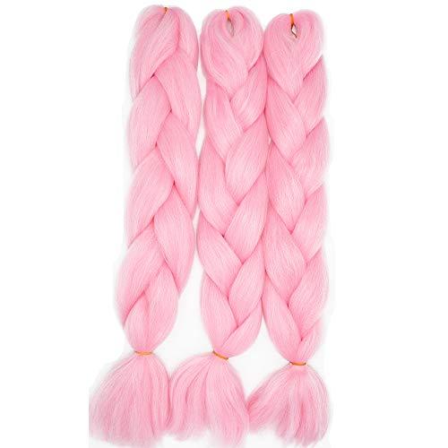 Treccine Extension Capelli Sintetici per Treccine Africane 3 Ciocche Trecce Jumbo Braiding Hair Kanekalon (Rosa)