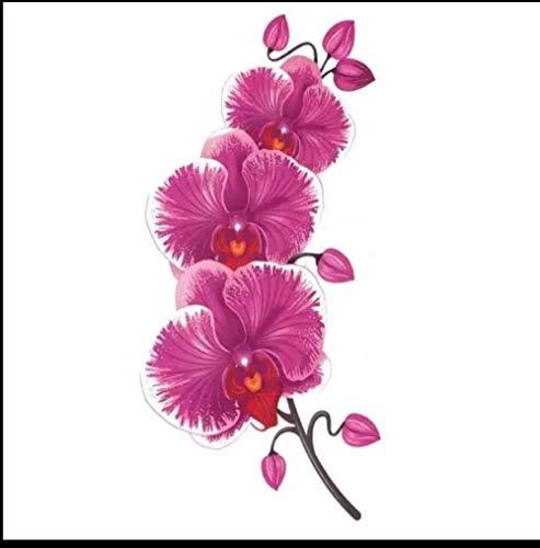Orchidea Farfalla Impermeabile Femminile Petto Autoadesivo Del Tatuaggio Trasferimento Dell'Acqua Accessori Rimovibili Temporanei Regalo Del Festival Decalcomania Del Corpo 7X14Cmx4Pcs