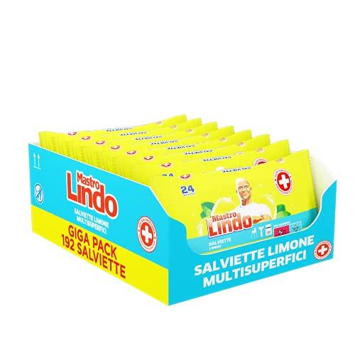 MastroLindoSalviette Igienizzanti Multisuperficie, 192 Pezzi (8 x 24 Salviettine), Limone, Per Tutte le Superfici, Senza Risciaquo, Fresco Profumo di Pulito, Maxi Formato