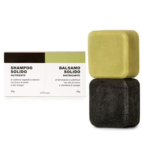 Shampoo Solido Bio e Balsamo 120 g - Enooso - 100% Artigianale Biologico Naturale Vegano - Made in Italy