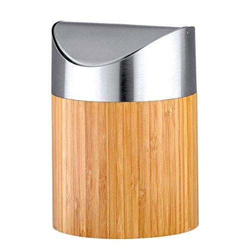 axentia Mini pattumiera da tavolo in bambù e acciaio inox spazzolato opaco con coperchio basculante 'Bonja', ca. 12 cm x 16, 5 cm, 0,8 l, marrone/legno