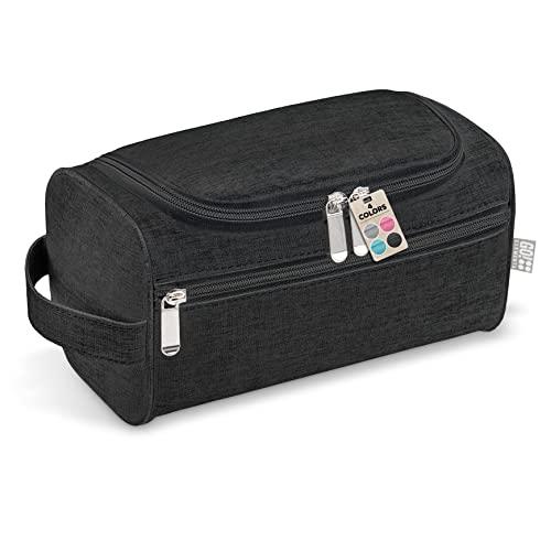 GO!elements® Beauty Case uomo & donna | borsa da toilette per uomini & donne appesi | borsa cosmetica uomo donna per valigie & bagaglio a mano | borsa da viaggio per lavaggio, Color:Nero