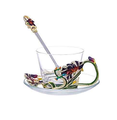 ZHENGYAQI-Glass Smalto, Colore, Elegante Smalto Colorato Iris Trasparente Cristallo for Tazza da caffè Tazza Tazza da tè (con Set di Piatti e cucchiai) Trasparente, Vetro (Color : Clear)