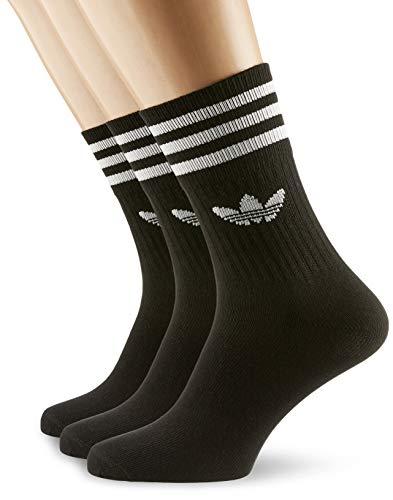 adidas Mid Cut Solid Crew 3 Pack, Socks Uomo, Black/White, 43-46