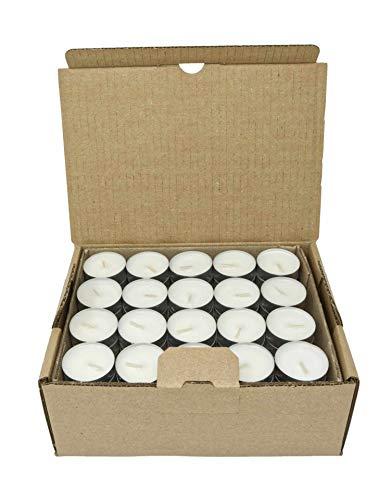 Confezione da 120 lumini da tè Naturali, 100% Cera vegetale Senza paraffina, Durata 4 Ore, in coppetta di Alluminio rispettosa dell'Ambiente