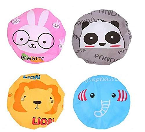 AMOYER 4 Pc Bambini Doccia Coniglio Cuffia da Bagno Buffo Cappello del Fumetto del Leone Panda Elefante Cappucci Impermeabili per Ragazze dei Ragazzi