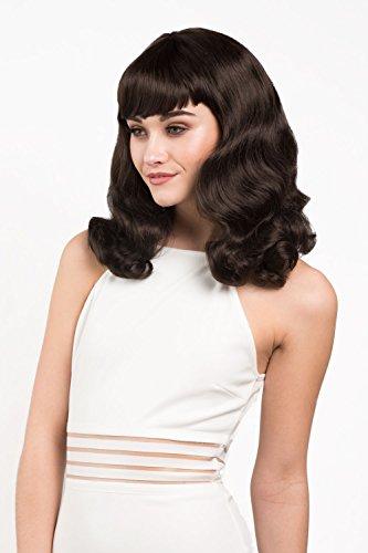 Parrucca marrone scuro, arricciata con frangia corta: Becca
