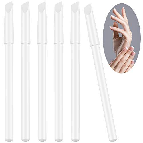 6 Pezzi Matite per Unghie Bianche 2 in 1 Matite Sbiancanti per Unghie con Spingi Cuticole per Forniture Manicure Francese