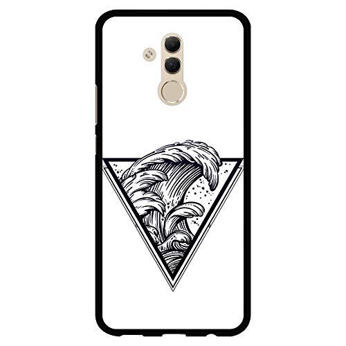 BJJ SHOP Custodia Nera per [ Huawei Mate 20 Lite ], Cover in Silicone Flessibile TPU, Design: Triangolo del Tatuaggio con Le Onde