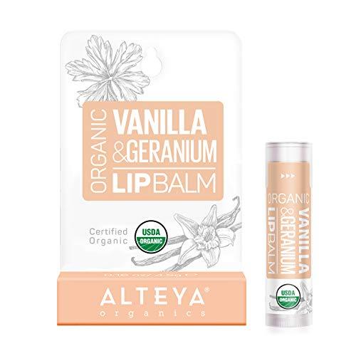 Alteya Organic Balsamo Labbra di Vaniglia e Geranio 5 g – USDA certificata organica pura naturale ristrutturante cura labbra sotto la forma di stick