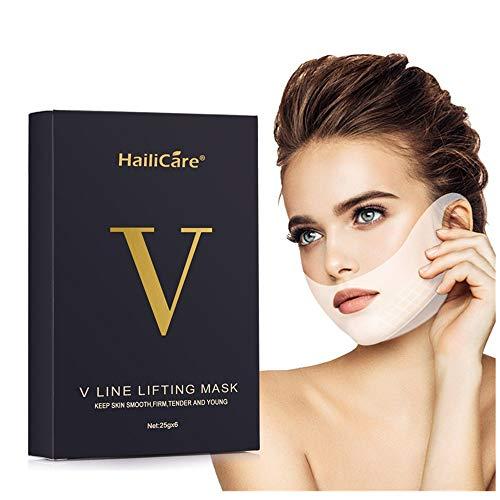 V Line Mask, HailiCare 6 Pcs 4D Doppio Viso V Appeso Orecchio Pasta Maschera Facciale Antirughe, Dimagrante e Idratante per Viso, Mento, Collo e Scollatura
