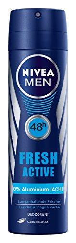 Uomini Nivea Deo Spray Fresh attivo senza alluminio, 4-pack (4 x 150 ml)