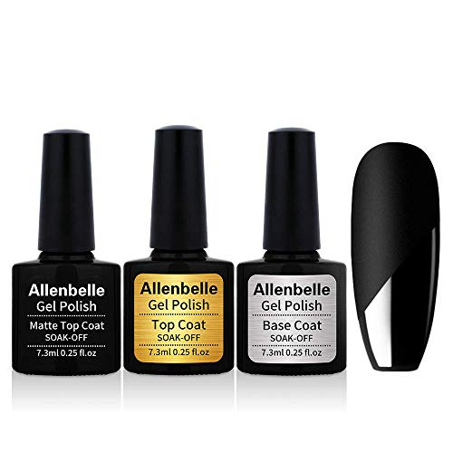 Allenbelle Base & Top coat And Matte Top Coat Smalto Semipermanente Nail Polish UV LED Gel Unghie (Kit di 3pcs 7.3ML/pc)