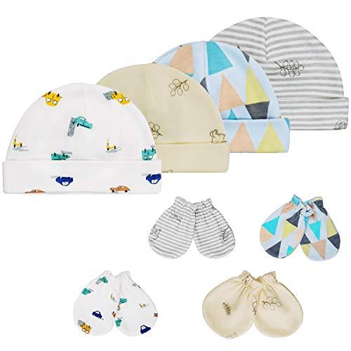 HBselect Set Cappellini e Guanti per Neonato Accessori per Bambini 4 Paia Guanti Neonato Cappellino Neonato in Cotone Adatto per Neonati da 0 a 6 Mesi Berrettini e Muffole Neonato