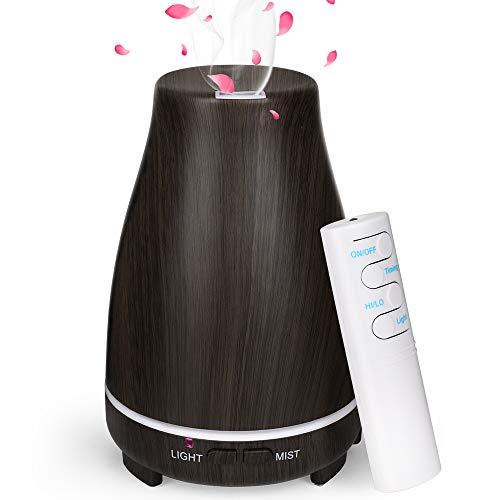 Diffusore di Oli Essenziali 150ml, GeeRic Mini Diffusore Aromaterapia Umidificatore Ultrasuoni Umidificatore 7 Colori LED Diffusori di Aroma Silenzioso per Yoga Regalo,Marrone Scuro