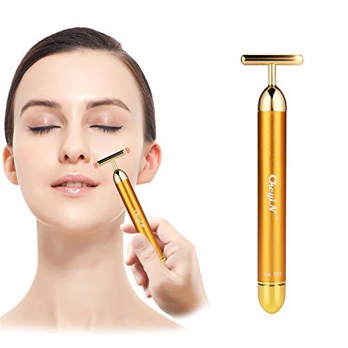 24K oro beauty bar energia , facial roller ,massaggiatore viso lifting , barra elettrica vibrante forma a T- antirughe, massaggiatore per fronte, guance, collo, clavicole, braccia, gambe, ecc.