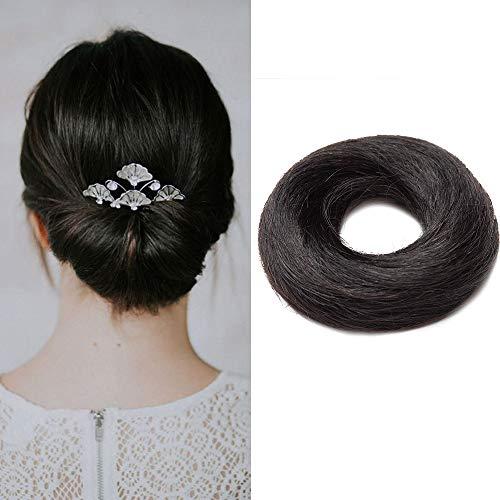 Ciambella per Chignon Extension Capelli Veri Lisci Elastico Voluminoso Coda Magic Hair Bun Updo Crocchia 17g #1 Nero Scuro
