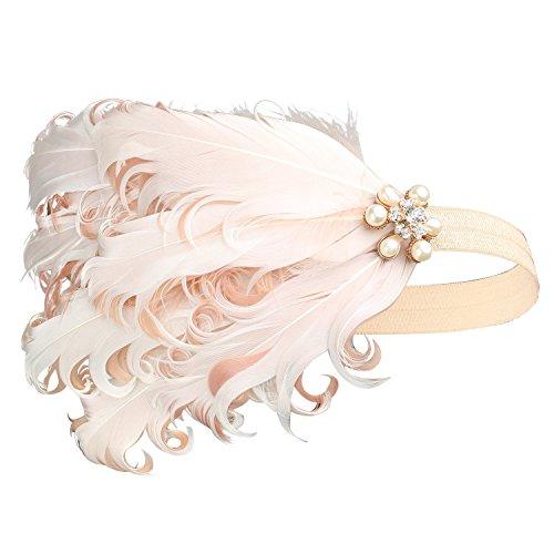 BABEYOND Fascia Anni 20 Gatsby Flapper Headband Fascia Charleston con Piuma Anni 20 Fascia Capelli Gatsby per Festa a Tema Vintage
