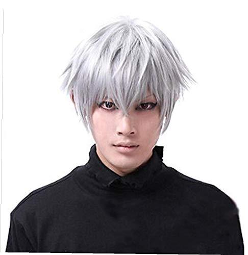 Cosplay Tokyo Ghoul Ken Kaneki Lisci Corti per gli uomini sintetiche termoresistenti Nero Bianco Anime dei capelli del costume di Halloween Parrucche