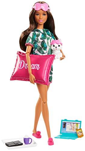 Barbie- Relax Bambola Castana con Cucciolo e 8 Accessori, Giocattolo per Bambini 3+ Anni, GJG58
