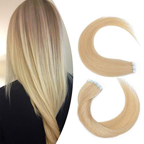 Elailite Extension Biadesivo Capelli Veri Adesive 20 Fasce Tape Biadesive Bionde Remy Human Hair Super Invisibile 30g 30cm #24 Biondo Naturale