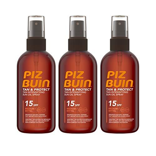 PIZ BUIN TAN & Protect Tan accelerating Oil Spray SPF 15/Media Protezione/braeunung beschl eunig endes Olio Spray per una più veloce, Abbronzatura Naturale/3X 150ml
