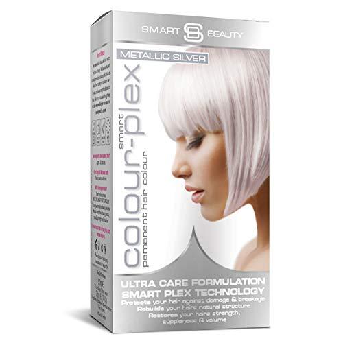 Smart Beauty Permanente Tinta Capelli, Metallico Pastello Colore con Nutriente Nio-Active Plex Trattamento per Capelli, 150 ML - Argento, 150 Milliliters