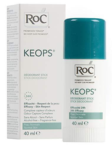 RoC - KEOPS Deodorante stick - 24 ore - Antitraspirante - Protezione a lunga durata - Per tutti i tipi di pelle - Senza alcool, profumo e sali di alluminio - 40 ml