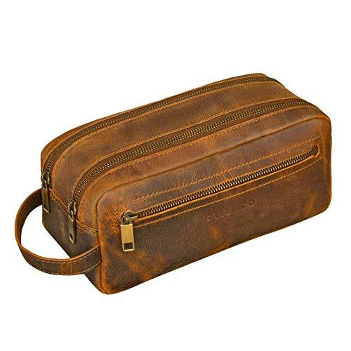 STILORD Beauty Case Uomo in Pelle Borsetta da viaggio Astuccio Trousse da bagno e palestra Borsa da Toilette con manico vintage cuoio, marrone cognac
