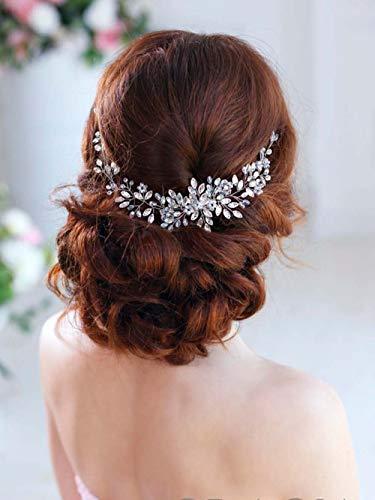 Simsly, decorazione per capelli a fascia, da sposa, con cristalli, accessorio per capelli, per sposa e damigelle d'onore, colore: argento