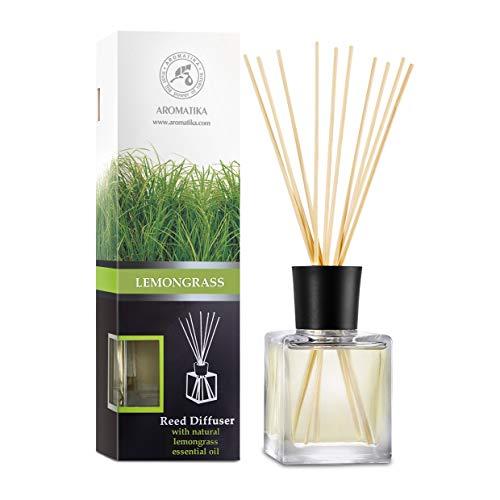 Diffusore di Fragranza con Bastoncini Lemongrass - 200ml - Diffusore con Olio Essenziale di Citronella - Bastoncini Profumati - Profumatori Ambiente - Aroma Fresco - Diffusore di Aromi