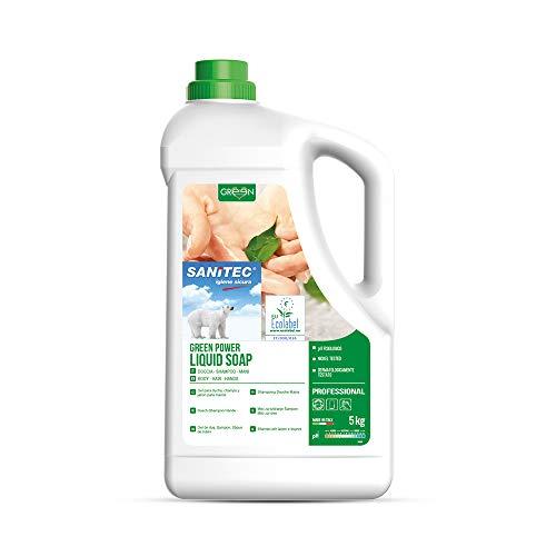 Sanitec Green Power Sapone Liquido, Ecologico, Corpo e Capelli, Delicato Profumo Floreale, 5 kg